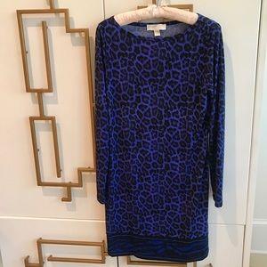 Michael Kors Blue Animal Print Stretchy Dress EUC